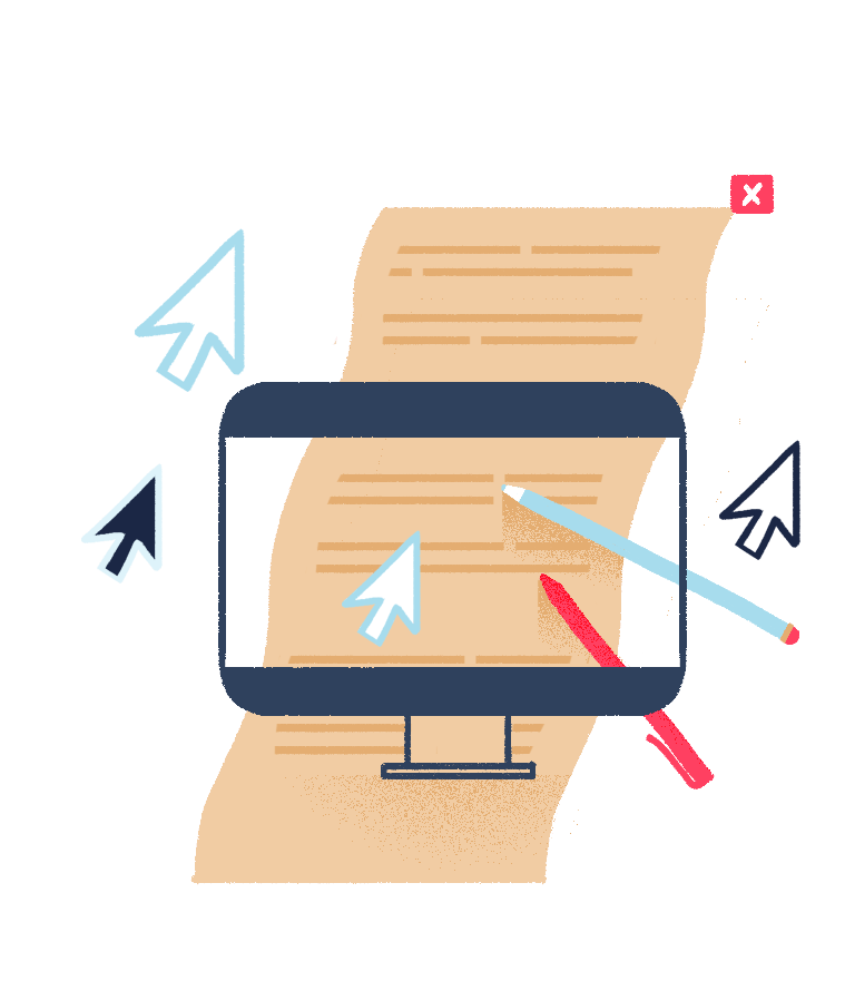 Illustration of a content piece written on paper turning into a digital version on a desktop