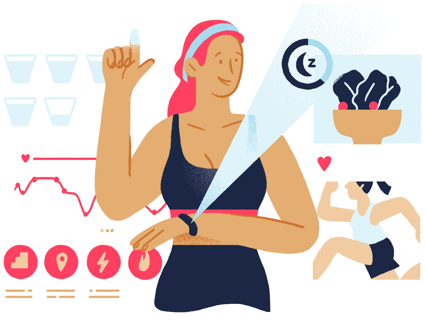 Illustration of a woman tracking her fitness activity with Fitbit